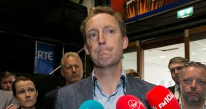 Fianna Fáil's  Barry Andrews speaking to media during the European count in the RDS, Dublin. Photograph: Collins