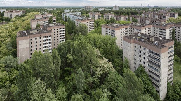 Aerial view from Pripyat which was abandoned in 1986 after a nuclear disaster in Chernobyl power plant. Most of the buildings are plundered. Photograph: iStock/Getty Images