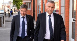 Kevin Lunney and Liam McCaffrey  (right) leaving the public  inquiry into Quinn Insurance's collapse at Blackhall Place in Dublin on Tuesday. Photograph: Dara Mac Dónaill/The Irish Times