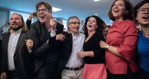 Members of the German Greens react to the publication of the first exit polls in the European elections, in Berlin. Photograph: Omer Messinger/EPA