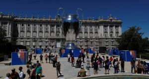A giant replica of the Uefa Champions League trophy is displayed outside the Royal Palace in Madrid. Photo: Susana Vera/Reuters