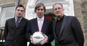 Noel Mooney, with John Delaney and   Fran Gavin in 2006. Mooney shares St Michael's roots with the former FAI chief executive. Photograph: Lorraine O'Sullivan/Inpho