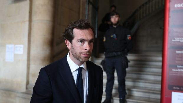 Sophie Toscan du Plantier's son Pierre-Louis Baudey-Vignaud, at the Court of Appeal in Paris for the trial of Ian Bailey. Photograph: Steve Parsons/PA