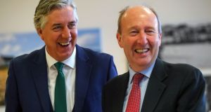 A 2016 file photograph of Minister for Sport Shane Ross (R) and then FAI chief executive John Delaney. Photograph: ©INPHO/James Crombie