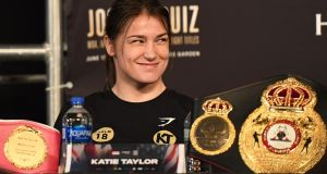 Katie Taylor can unify the lightweight division in New York this weekend. Photograph: Jeff Fusco/Inpho