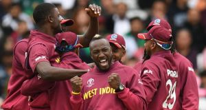 Andre Russell andthe West Indies celebrate after Jason Holder took the wicket of Pakistan captain Sarfaraz Ahmed. Photograph: Oli Scarff/AFP/Getty