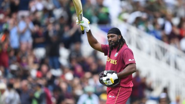 Chris Gayle scored 50 as the West Indies routed Pakistan at Trent Bridge. Photograph: Nathan Stirk/Getty