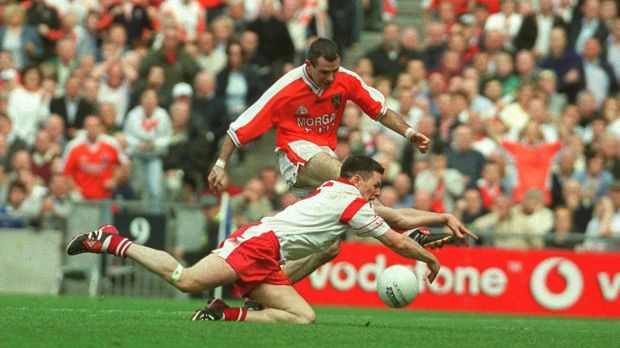 Conor Gormley famous block on Steven McDonnell in the 2003 All-Ireland final played a huge role in denying Armagh back-to-back titles. Photograph: Brendan Moran/Sportsfile