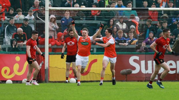 Armagh's Mark Shields celebrates his goal in his side's victory over Down. It was their first Ulster championship win under Kieran McGeeney. Photograph: Philip Magowan/Inpho