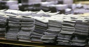 Stacks of ballot papers during the count of the Dublin constituency for the European elections, at the RDS in Dublin. Photograph: Niall Carson/PA Wire