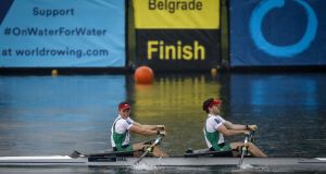 Ireland's Gary O'Donovan and Paul O'Donovan competing in Serbia. The big target is next year at the Tokyo Olympics. Photograph: Srdjan Stevanovic/Inpho