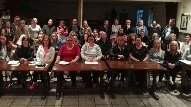 Parents of children at Ratoath College at a meeting on Thursday night who expressed concern over the school's 'iPads-only' policy for junior cycle students.