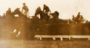 The Steeplechase for the Metropolitan Plate at Baldoyle Racecourse in March 1926. Photograph: National Library of Ireland/Flickr commons