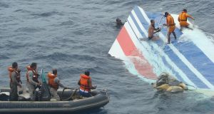 Salvage teams working  to retrieve debris from the wreckage of Air France flight 447 off the coast of Brazil in  2009.  Source: Forca Aerea Brasileira via Bloomberg News