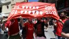 Liverpool fans in Madrid ahead of the Champions League final against Tottenham. Photograph:  Aaron Chown/PA