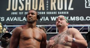 Anthony Joshua takes on Andy Ruiz Jr in New York on Saturday night. Photograph: Timothy A Clary/AFP/Getty