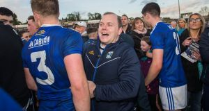 Mickey Graham celebrates Cavan's win over Monaghan. Photograph: Tommy Dickson/Inpho