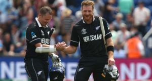 Colin Munro (L) and Martin Guptill steered New Zealand to a 10 wicket win Geoff Caddick/AFP/Getty