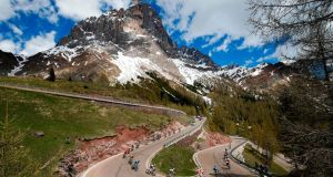 Riders take the descent of the Rolle pass during stage 20 of the  Giro d'Italia  from Feltre to Croce D'Aune-Monte Avena. Photograph: Luk Benies/AFP/Getty Images