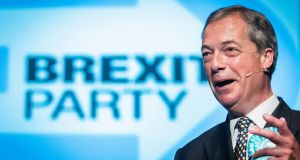 Brexit Party leader Nigel Farage during a Brexit Party rally at the Broadway Theatre in Peterborough on Saturday, ahead of the upcoming by-election. Photograph: Danny Lawson/PA Wire