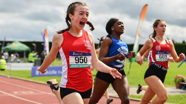 Niamh Moohan of Abbey Vocational School, Co Donegal celebrates winning the intermediate girls 80m hurdles during the Irish Life Health All-Ireland Schools Track and Field Championships in Tullamore. Photograph: Sam Barnes/Sportsfile