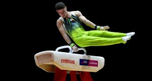 Irish gymnast Rhys McClenaghan took gold in the pommel-horse final at the 2019 FIG World Challenge Cup in Slovenia. File photograph: Neil Hall/Inpho