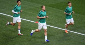 Harry Kane, Heung-Min Son and Kieran Trippier of Tottenham Hotspur  warm up prior to the  Champions League Final against  Liverpool at Estadio Wanda Metropolitano  in Madrid. Photograph: David Ramos/Getty Images