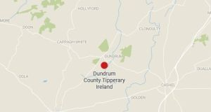 A map showing the location of the crash in Co Tipperary on Sunday morning.