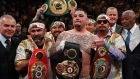 Andy Ruiz Jr with the IBF, WBA, WBO & IBO heavyweight belts after beating Anthony Joshua in New York. Photograph: Timothy A Clary/AFP/Getty