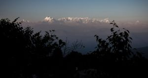 The Himalayas seen from the hill-station of Kausani in the northern Indian state of Uttarakhand. Photograph: Getty Images