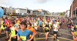 More than  8,000 people took part in the Cork City Marathon on Sunday. Photograph: Darragh Kane