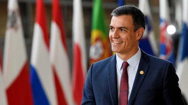 Spain's prime minister Pedro Sanchez: leveraging his party's new standing to claim one of the EU top jobs for party colleague and former parliament chair Josep Borrell. Photograph: Piroschka van de Wouw