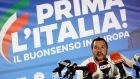 Italian deputy prime minister and leader of far-right League party Matteo Salvini: League party took  34 per cent of the vote and swept past its coalition partner and rival, the Five Star movement. Photograph: Alessandro Garofalo