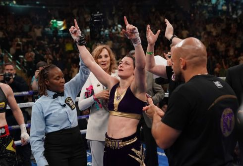 Katie Taylor celebrates her victory against Delfine Persoon of Belgium during their unification World Lightweight Championship fight at Madison Square Garden in New York. Photograph: Timothy A Clary/Getty