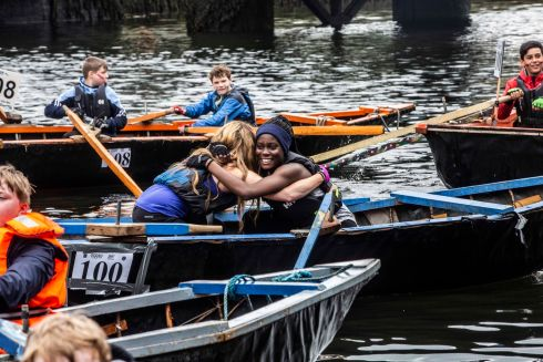Jenny McMahon and Ella Ambrose of Foroige: Big Brother Big Sister - Youth Mentoring Programme during the Ocean to City Race at Cork Harbour festival. Photograph: Claire Keogh