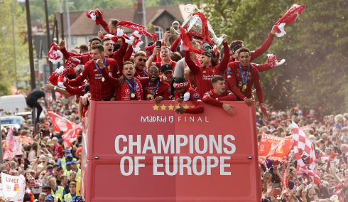 The victorious Liverpool team parade around the city in an open-top bus following thier win over Spurs in the Champions League final.  Photograph: Oli Scarff/Getty Images
