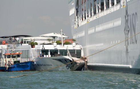 The cruise ship MSC Opera collides with a tourist vessel, in Venice, Italy. Four people were taken to hospital. Photograph: Andrea Merola/EPA