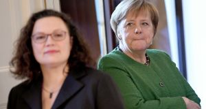 Outgoing Social Democratic Party leader Andrea Nahles with German chancellor Angela Merkel: The SPD's search for its seventh leader in a decade reflects a deep-seated identity crisis in Germany's oldest party. Photograph: Britta Pedersen