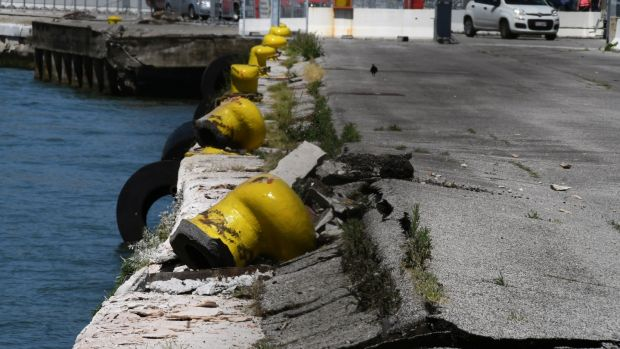 Damage to San Basilio dock in Venice after the MSC Opera cruise ship crashed. Photograph: Manuel Silvestri/Reuters