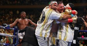 Andy Ruiz Jr and his team celebrate his win over Anthony Joshua. Photograph: Al Bello/Getty