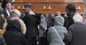The coffin of Morgan Barnard  taken into St Patrick's Church, Dungannon for his funeral last March. Photograph: Brian Lawless/PA