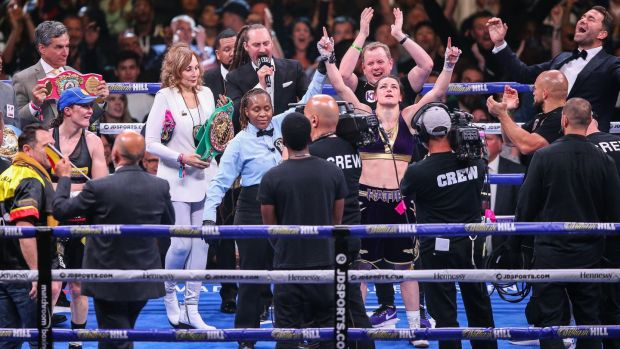 Katie Taylor is declared the winner in New York. Photograph: Melina Pizano/Inpho