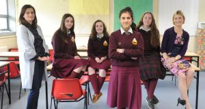 Members of the wellbeing committee at  St Wolstan's Community School in Celbridge, Co Kildare. They are   teachers Laura Gerraghty and Margaret Bennett, and pupils   Rosaleen Byrne (15), Codi Long (15), Swati Joshi (14) and Beth Corry (17). Photograph: Aidan Crawley