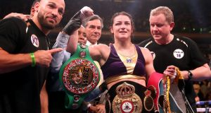 Katie Taylor (centre) celebrates her win against Delfine Persoon in the IBF, WBC, WBO, WBA, Ring Magazine Women's Lightweight World Championships fight at Madison Square Garden, New York. Photogrpah: Nick Potts/PA Wire