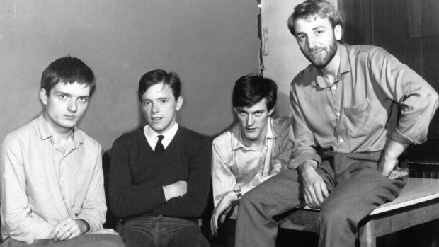 Ian Curtis, Bernard Sumner, Stephen Morris and Peter Hook of Joy Division. Photograph: Harry Goodwin/Rex Features