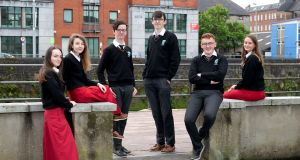 Gaelcholaiste Luimnigh Leaving Cert students  Sophie Hickey, Avril Healy, Josh McGiff, David Kennedy, Andre Colbert and Leah Hawes. Photograph:  Arthur Ellis