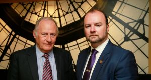 Ian Elliott, left, child protection expert, and Adrian Tennant, chair of Scouting Ireland's board.  Photograph: Nick Bradshaw/The Irish Times