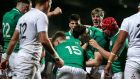 Ireland U-20 players celebrate Cormac Foley's try against England during the Six Nations victory  in Cork. Photograph: Laszlo Geczo/Inpho
