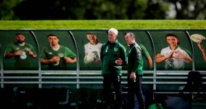 Ireland manager Mick McCarthy at training ahead of the Euro 2020 qualifiers against Denmark and Copenhagen. Photo: Ryan Byrne/Inpho