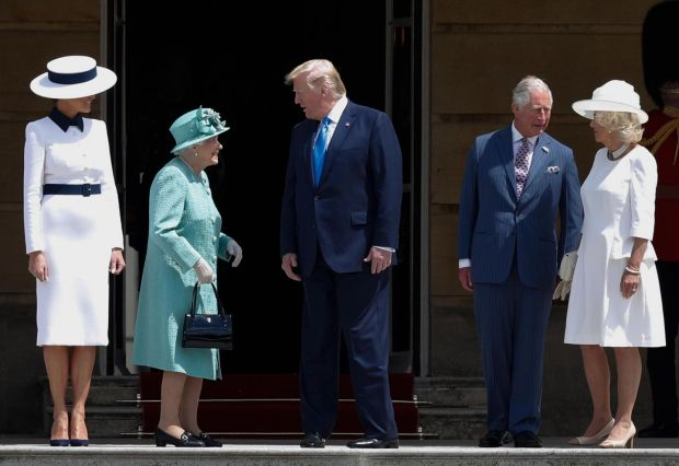 State visit: Melania Trump, Donald Trump, Queen Elizabeth, Prince Charles and Camilla, duchess of Cornwall, at Buckingham Palace on Monday. Photograph: Adrian Dennis/AFP/Getty
